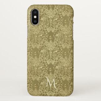 Eleganter antiker Golddamast-Monogramm iPhone X iPhone X Hülle