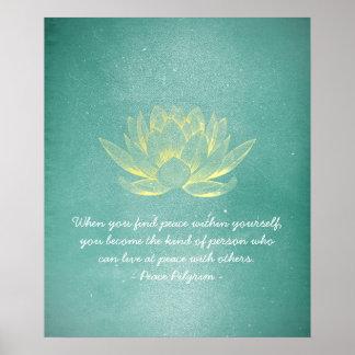 Eleganter aquamariner Goldlotos YOGA Poster