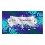 Eleganter aquamariner lila Damast-Strudel Visitenkarten