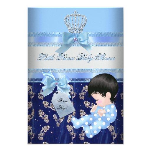 Eleganter Babyparty-Jungen-blauer kleiner Prinz Einladung