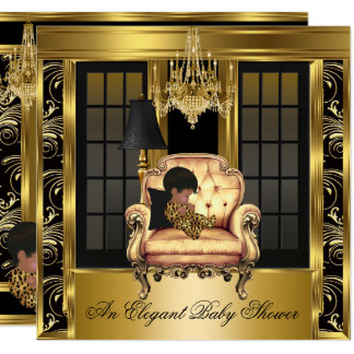 Eleganter Babyparty-Leuchter-Goldstuhl 3A Karte