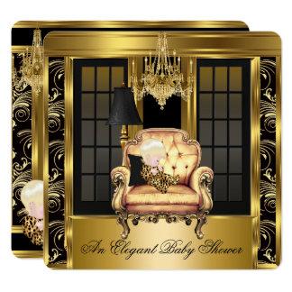 Eleganter Babyparty-Leuchter-Goldstuhl Karte
