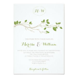 Eleganter Baumast-grüne/beige Hochzeits-Einladung 12,7 X 17,8 Cm Einladungskarte