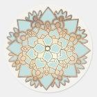 Eleganter Blau-und Goldlotos-Blumen-Aufkleber Runder Aufkleber