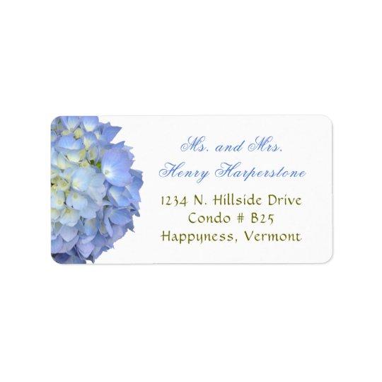 Eleganter blauer Blumenhydrangea-breiter Aufkleber Adressetiketten