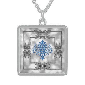 Eleganter blauer Damast-Entwurf! Sterling Silberkette