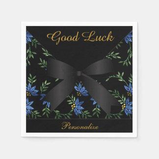 Eleganter blauer Glitter mit Blumen Serviette