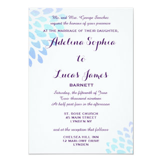 Elegant Blue Hydrangea Formal Wedding Invitation