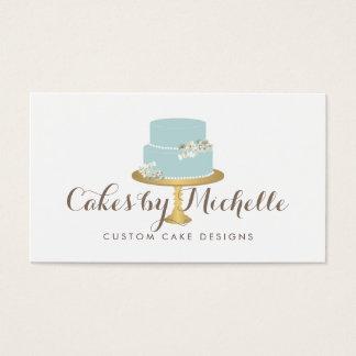 Eleganter blauer Kuchen mit verzierenden dem Visitenkarte