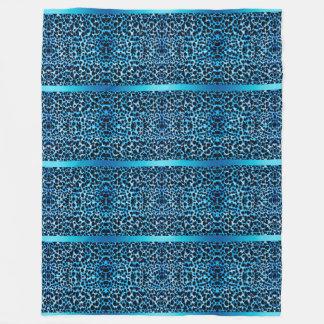 Eleganter blauer Leopard Fleecedecke