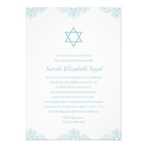 Eleganter blauer Schläger Mitzvah Personalisierte Ankündigungskarte