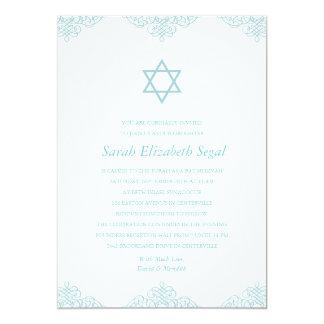 Eleganter blauer Schläger Mitzvah 12,7 X 17,8 Cm Einladungskarte