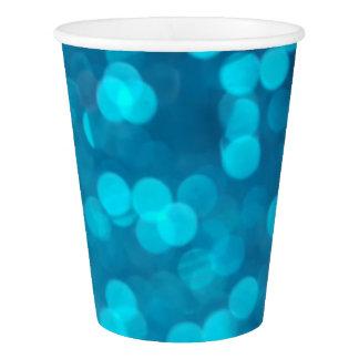 Eleganter blauer Türkis Bokeh kreist helles Muster Pappbecher