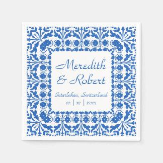 Eleganter blauer und weißer Hochzeits-Empfang Papierserviette