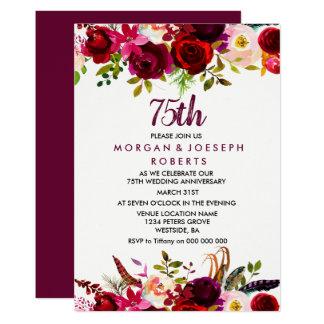 Eleganter Blumen75. Hochzeitstag Burgunders Karte