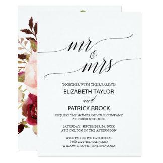 """Eleganter Blumen""""Herr u. Frau"""" Hochzeit der 12,7 X 17,8 Cm Einladungskarte"""