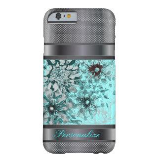Eleganter Blumen- und schwarzer silberner Barely There iPhone 6 Hülle