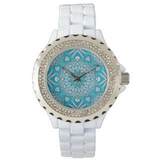 Eleganter Blumenaqua Türkis Boho Stammes- Muster Uhr