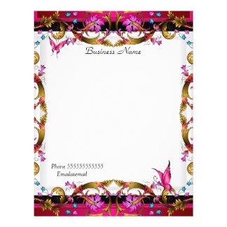 Eleganter Blumengoldrosa-Schwarz-Schmetterling 21,6 X 27,9 Cm Flyer