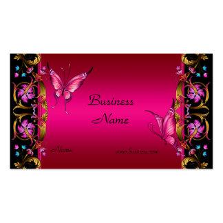 Eleganter Blumengoldrosa-Schwarz-Schmetterling Visitenkarten