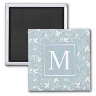 Eleganter Blumenmagnet des muster-Monogramm-| Quadratischer Magnet