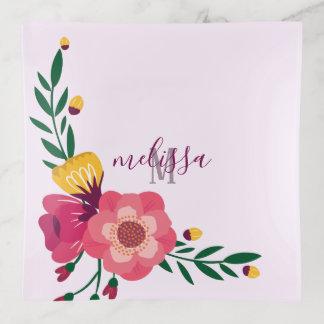Eleganter Blumenmonogrammtrinket-Behälter Dekoschale
