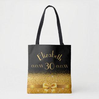 eleganter Bogen des 30. Geburtstages Goldmit Tasche