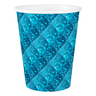 Eleganter Bokeh blauer Türkis kreist Muster ein Pappbecher