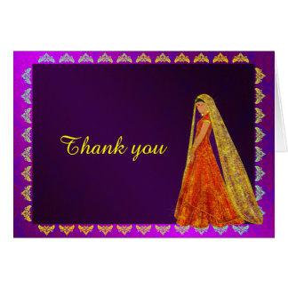 Eleganter Braut-Hochzeits-Kleiderdamast danken Grußkarte