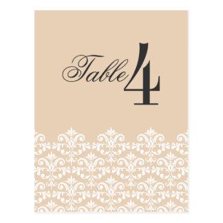 Eleganter Brown-Damast-Wedding Tischnummerkarte Postkarte