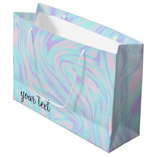 eleganter bunter rosa blauer lila weißer Marmor Große Geschenktüte