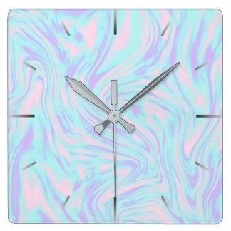 eleganter bunter rosa blauer lila weißer Marmor Quadratische Wanduhr