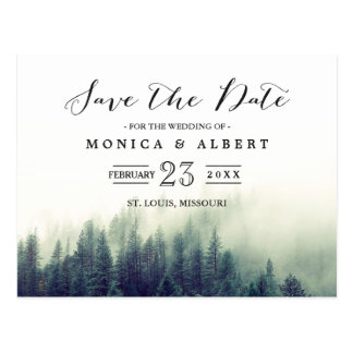 Eleganter Chic-Kiefern-Baum-Wald Save the Date Postkarte
