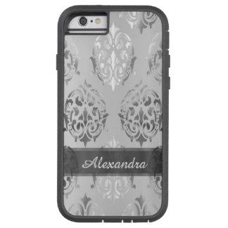 Eleganter Damast des silbernen Graus des Tough Xtreme iPhone 6 Hülle