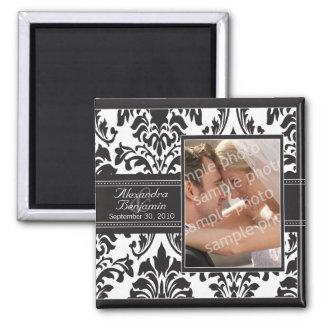 Eleganter Damast-Gastgeschenk Hochzeits-Magnet: Quadratischer Magnet