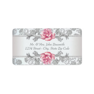 Eleganter Damast und rosa Rosen-Adressen-Etiketten Adressaufkleber