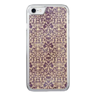 Eleganter dunkler königlicher lila Damast-Batik Carved iPhone 8/7 Hülle