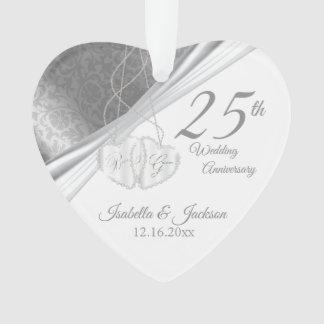 Eleganter Entwurf - 25. silberner Hochzeitstag Ornament