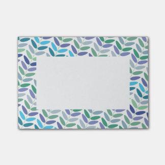 Eleganter Farn-Blumenmuster-blaues Grün-Blätter Post-it Klebezettel