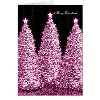 Eleganter frohe Weihnacht-Feiertags-Rosa-Schein Karten