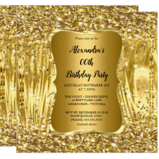Eleganter Geburtstags-Party-GoldGlitzerConfetti Karte