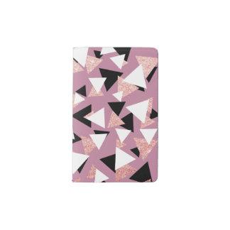 Eleganter geometrischer Dreieck-Rosen-GoldGlitter Moleskine Taschennotizbuch