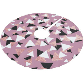 Eleganter geometrischer Dreieck-Rosen-GoldGlitter Polyester Weihnachtsbaumdecke