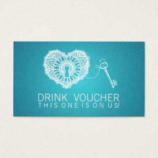 Eleganter Getränk-Beleg-Schlüssel zu meinem Visitenkarte