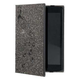 Eleganter Girly grauer Glitzer-Schwarz-Pfau iPad iPad Mini Schutzhülle