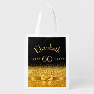 eleganter glänzender Bogen des 60. Geburtstages Wiederverwendbare Einkaufstasche