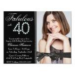 Eleganter Glitter-Diamant-Fab 40 Foto-Geburtstag Individuelle Einladung
