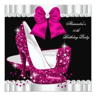 Eleganter Glitter-tiefrosa Glamour-hoher Heels Quadratische 13,3 Cm Einladungskarte