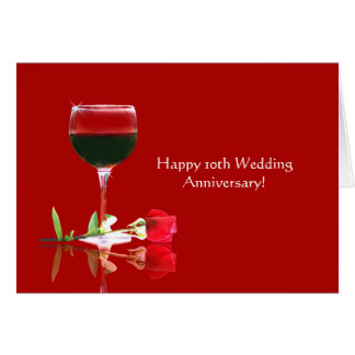 Eleganter glücklicher 10. Hochzeitstag Karte