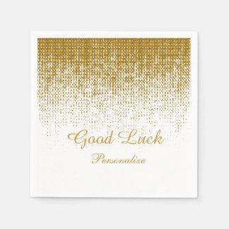 Eleganter Goldbeschaffenheits-Druck auf weißem Papierserviette